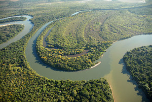 A curva final do Rio Verde, sua foz no Teles Pires. Foto Margi Moss