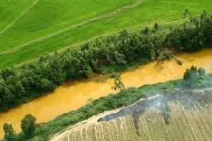 O amarelo Rio Mãe Luíza, poluído por resíduos de carvão. SC - Foto: Margi Moss